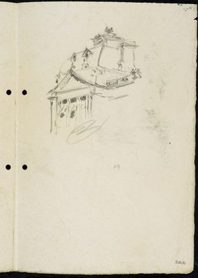 Alternate image of recto: Tree on a bank and water with footbridge [left] Portion of the roof of Sydney Town Hall [right] verso: Statue of Dr John Dunmore Lang in Wynyard Park [left] Harbour boathouse and Harbourside building with trees [right] by Lloyd Rees