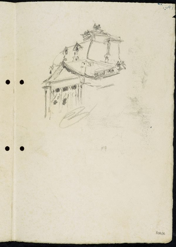 An image of recto: Tree on a bank and water with footbridge [left] Portion of the roof of Sydney Town Hall [right] verso: Statue of Dr John Dunmore Lang in Wynyard Park [left] Harbour boathouse and Harbourside building with trees [right]