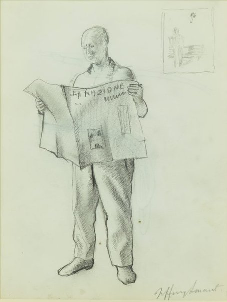 An image of Study III for 'The morning paper' 1993-94 by Jeffrey Smart