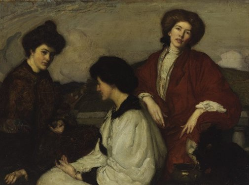 An image of The three kimonos by George W Lambert