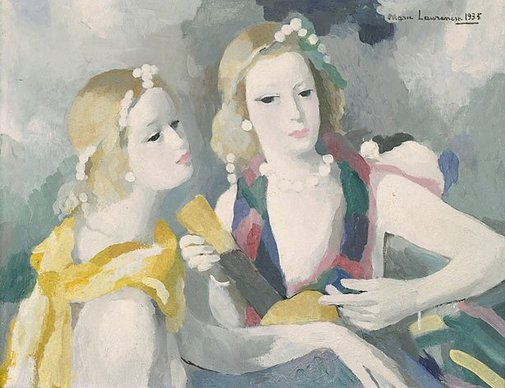 An image of Two women with musical instrument by Marie Laurencin