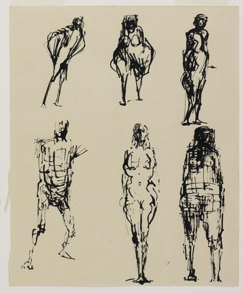 An image of Six figure sketches 2 by Oliffe Richmond