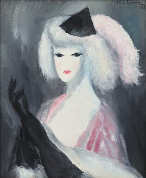 An image of The black gloves by Marie Laurencin