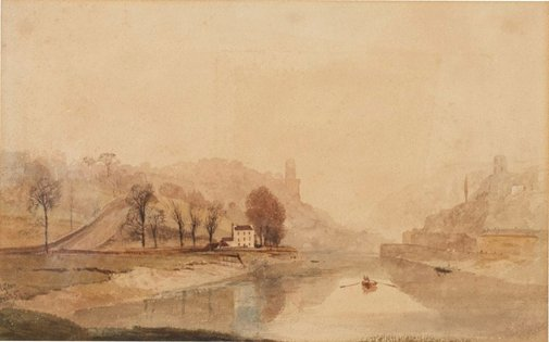 An image of Clifton - river scene by E Marks