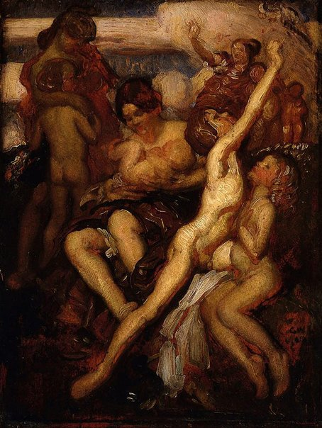 An image of Children bathing by George W Lambert