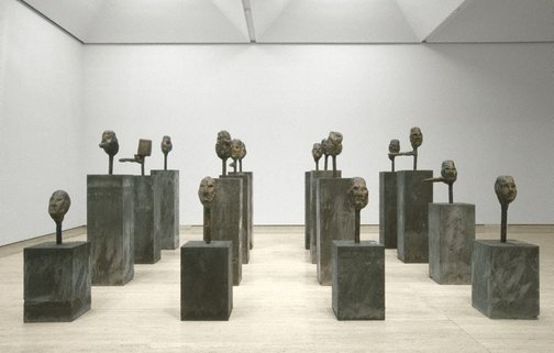 An image of Bronze liars (minus 1 to minus 16) by Mike Parr