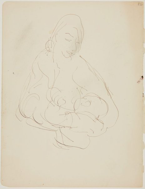 An image of (Woman feeding baby) (London genre) by William Dobell