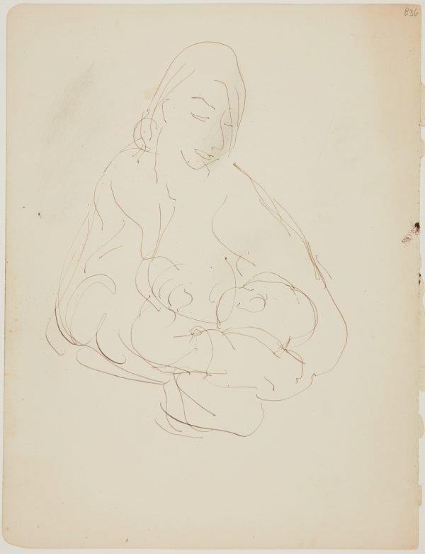 An image of (Woman feeding baby) (London genre)