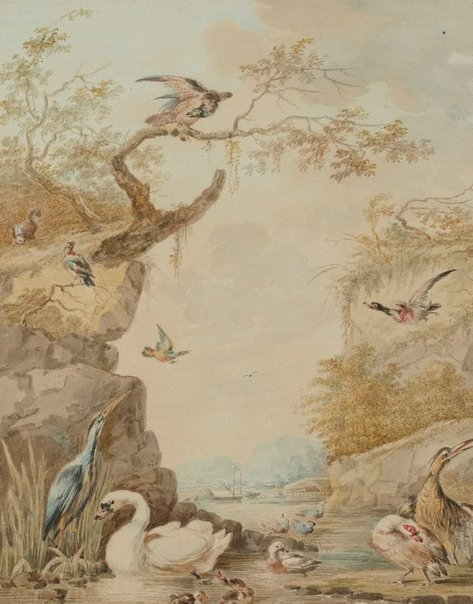 An image of A swan and other birds in a rocky river scene by Abraham Meertens