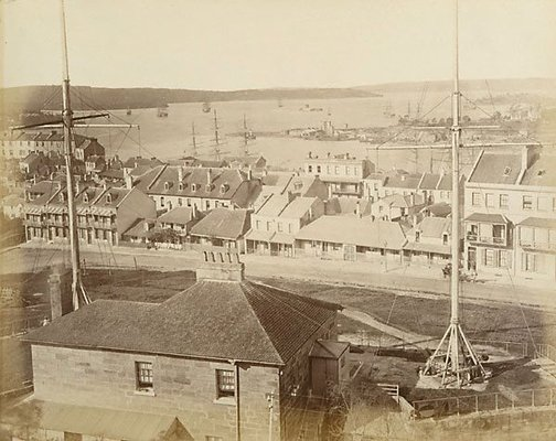 An image of View of streetscape and Sydney Harbour by Charles Bayliss