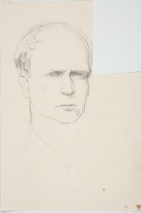 An image of recto: Self portrait verso: Study of tree fern in landscape