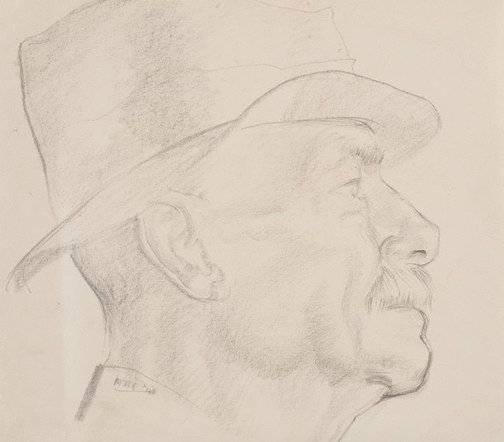 An image of Head study (man in hat) by Mary Abbott
