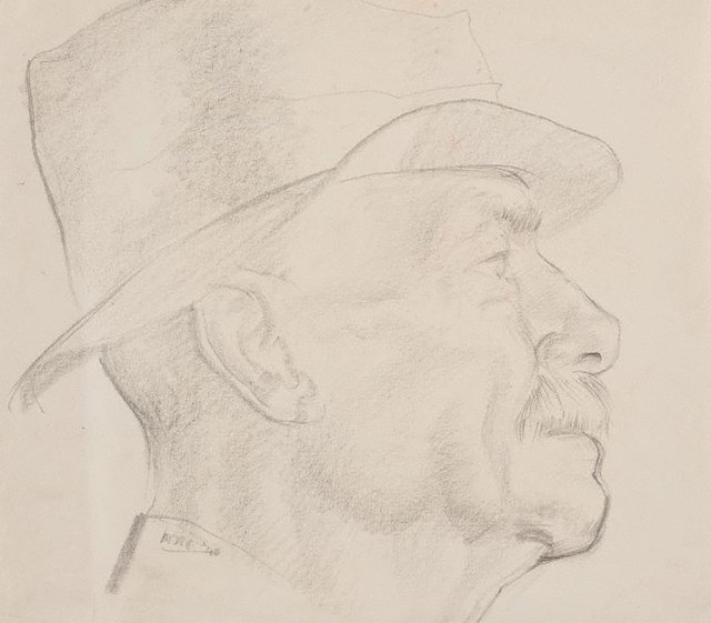 An image of Head study (man in hat)