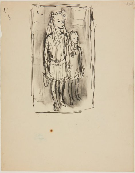 An image of (Two little girls) (London genre) by William Dobell