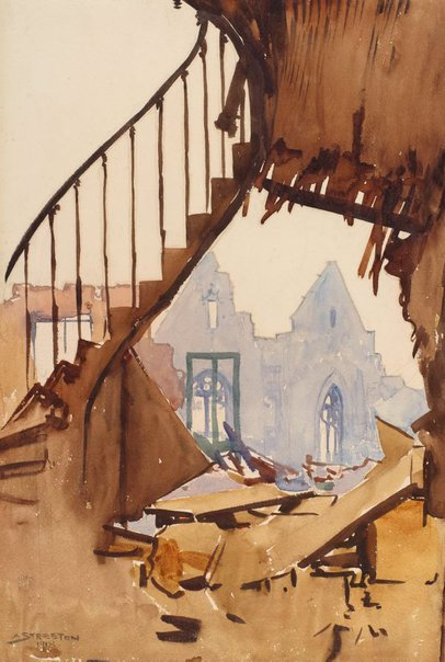 An image of The stairway, Peronne by Arthur Streeton
