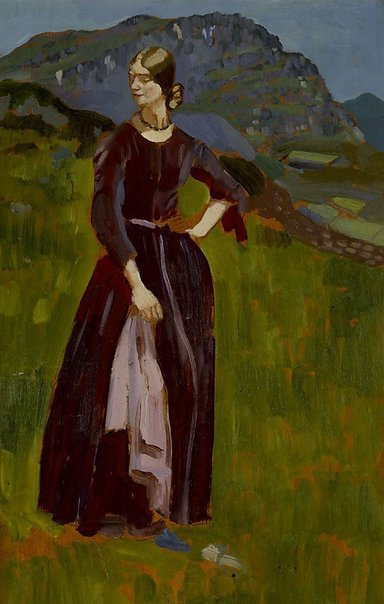 An image of Lily on the mountainside, Blaenau, Ffestiniog by Augustus John OM