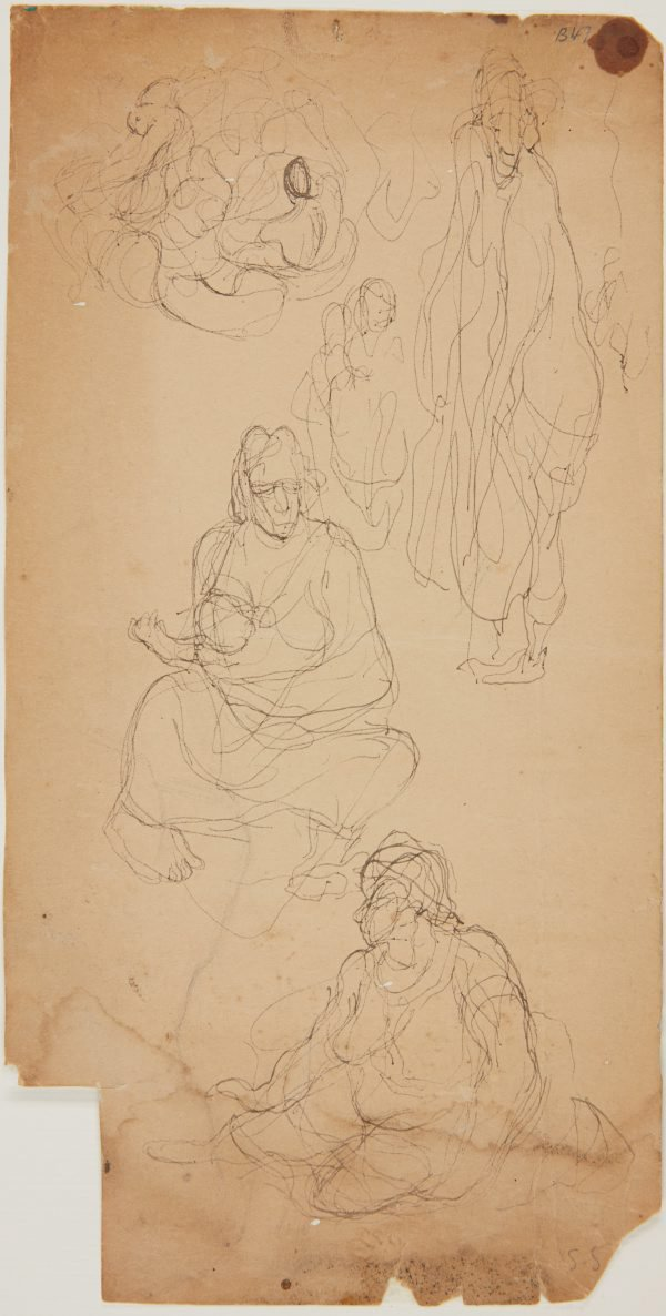 An image of (Abstract figures and studies of woman and baby) (London genre)