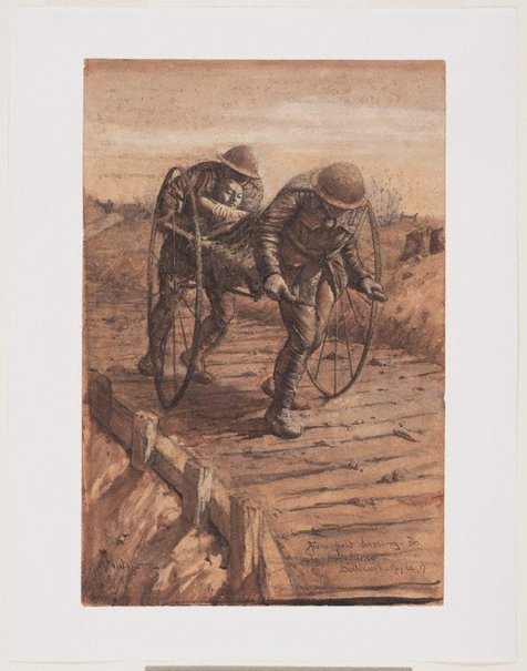 An image of From field dressing station to ambulance, Bullecourt by Napier Waller