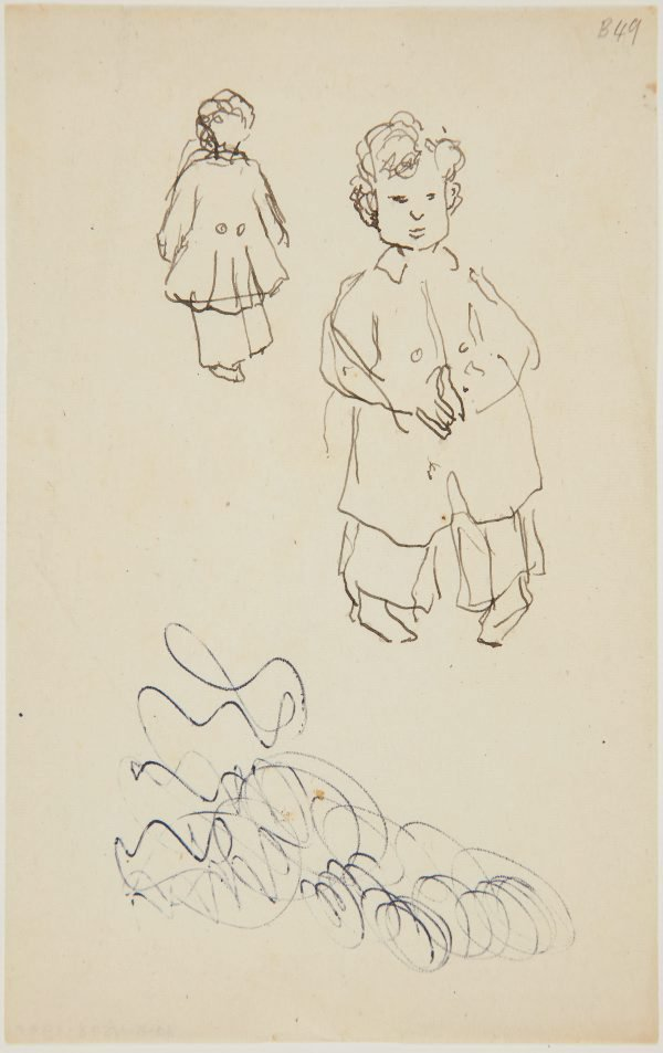 An image of (Studies of little boy with coat) (London genre)