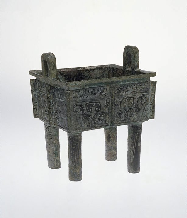 An image of Square 'ding' cauldron with mythical creatures