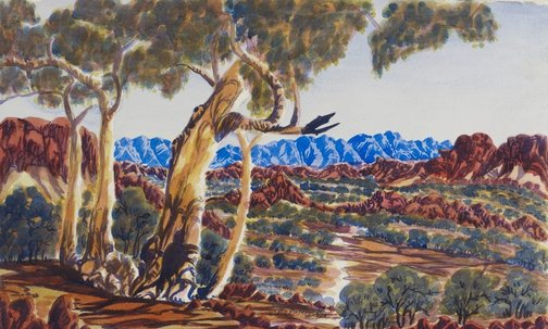 An image of The hills behind Hermannsburg by Otto Pareroultja