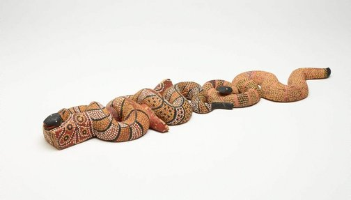 An image of Two quiet snakes dreaming by Billy Stockman Tjapaltjarri