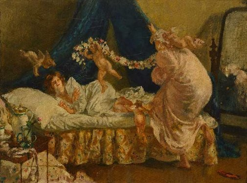 """An image of The arrival of Cupid; from """"Memories of my dead wife"""" by George Moore by Henry Tonks"""