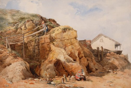 An image of A sketch - coastal scene by John Henry Mole