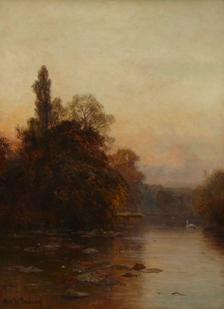An image of Evening. 'Softly falls the even light etc' by Alfred De Breanski