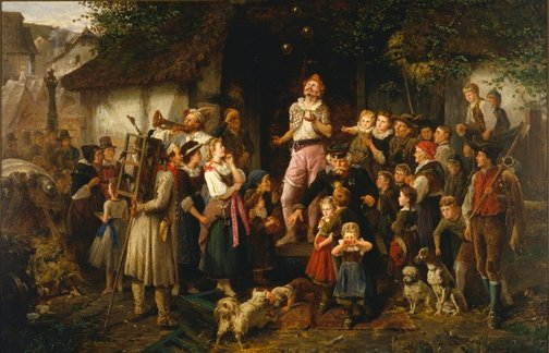 An image of The juggler: a village fair by Fritz Beinke