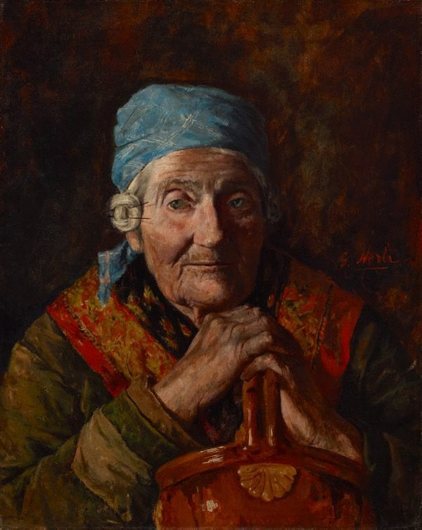 An image of An old woman (study)