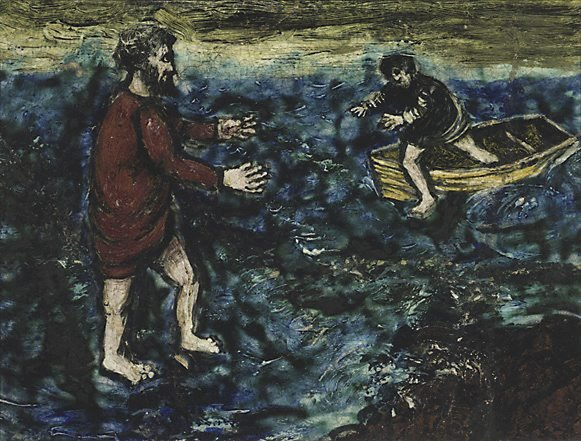 An image of Christ walking on the water
