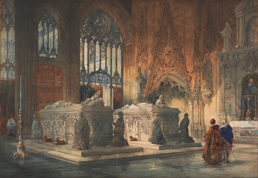 An image of Interior of Toledo Cathedral: tombs of Don Álvaro de Luna and his wife by Pilford Fletcher Watson