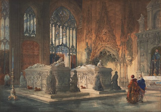 An image of Interior of Toledo Cathedral: tombs of Don Álvaro de Luna and his wife