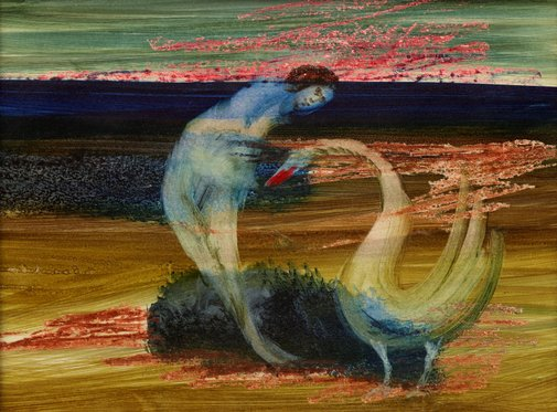 An image of Leda and swan by Sidney Nolan