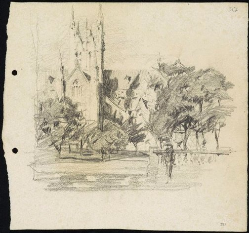 An image of recto: St Mary's Cathedral, Sydney verso: Semi-circular porch of the Art Gallery of New South Wales by Lloyd Rees