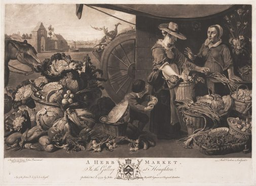 An image of A herb market by Richard Earlom, after Frans Snyders