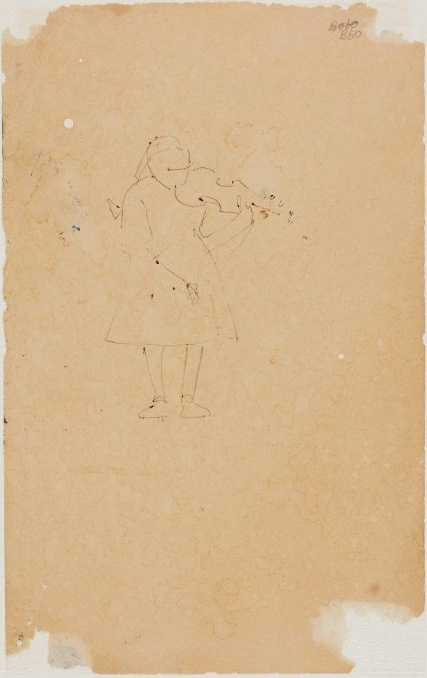 An image of (Girl playing violin) (London genre)