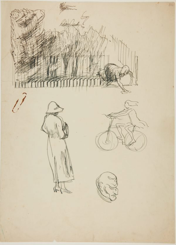 An image of (Woman cleaning, figure study and girl on bike) (London genre)