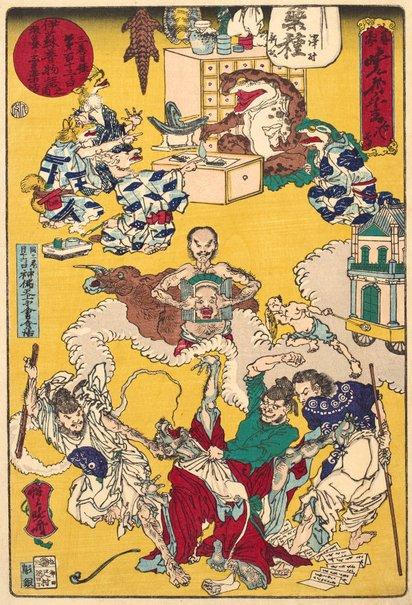 An image of Ancient tales of Aesop: vol 3, day no 132, story of the frog medicine peddler (Issopu mukashi monogatari no uchi sanmaki mokuroku dai-hyakujūsanninichi gama no baiyakubanashi) no 8 by Kawanabe Kyōsai