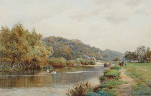 An image of On the Thames, Henley Reach by William Bradley
