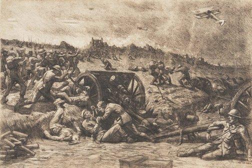 An image of Recapture of guns, Bullecourt by Napier Waller