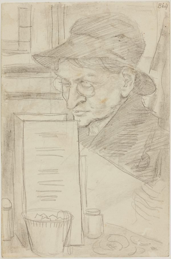An image of (Woman reading in cafe) (London genre)