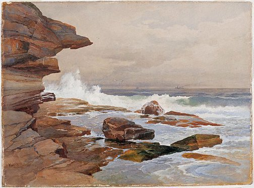 An image of High tide, Bondi by Frederick B Schell