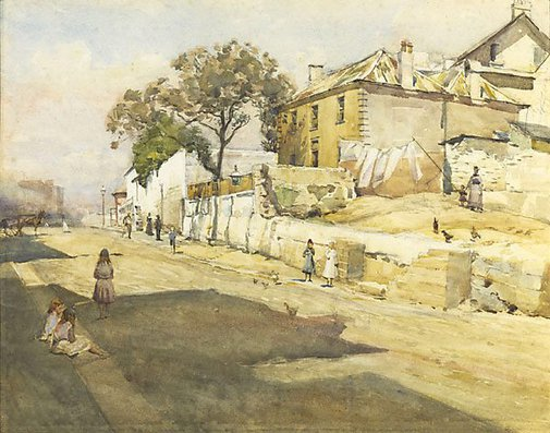 An image of Old houses, Cumberland Street by Julian Ashton