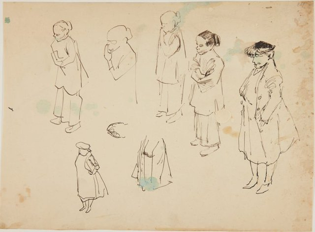 An image of (Figure studies, woman with hands folded) (London genre)