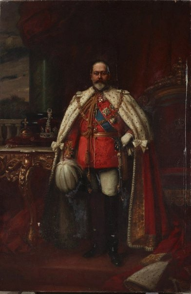 An image of King Edward VII in coronation robes by John Longstaff