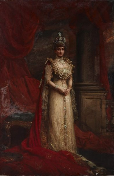 An image of H.M. Queen Alexandra in coronation robes by John Longstaff