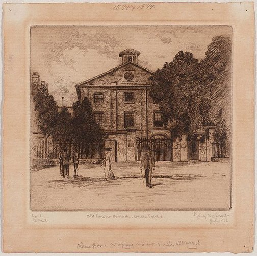 An image of Old convict barracks by Sydney Ure Smith