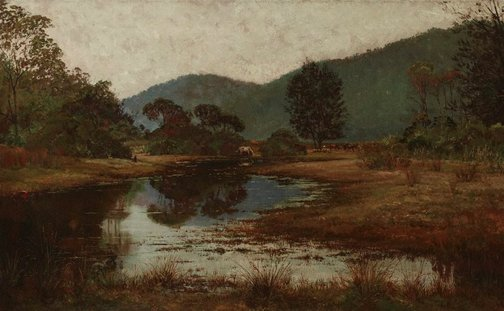 An image of A waterhole on the Hawkesbury River by Julian Ashton